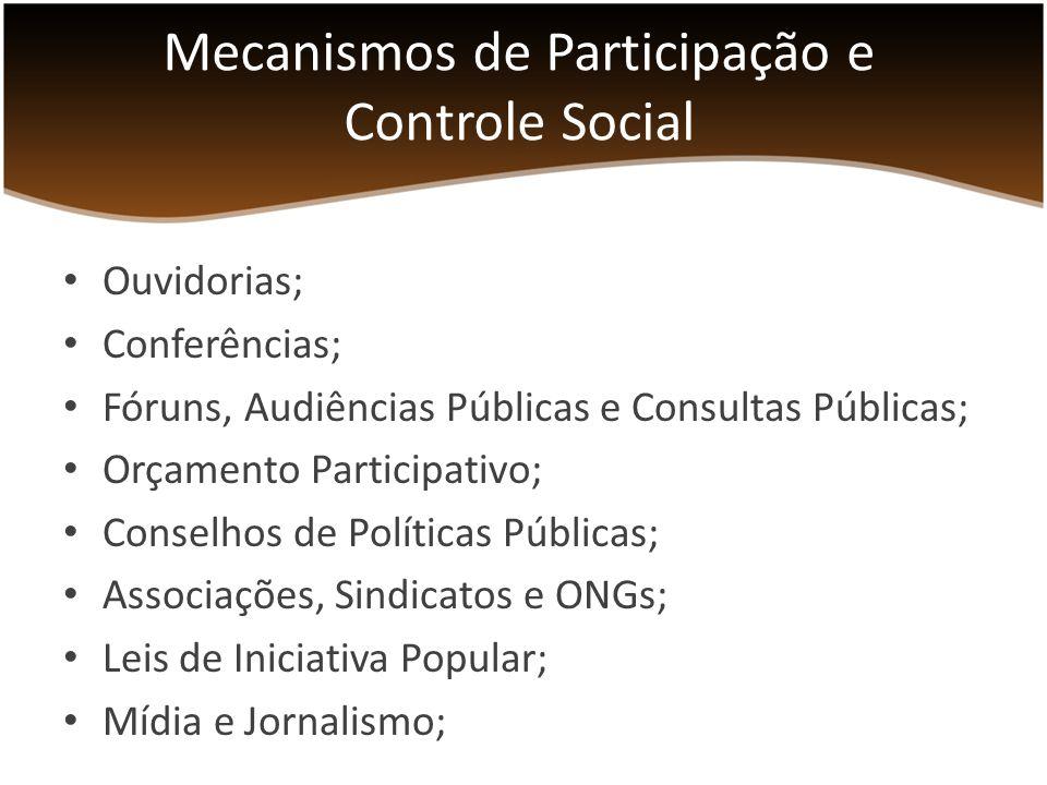 Ouvidorias; Conferências; Fóruns, Audiências Públicas e Consultas Públicas; Orçamento Participativo; Conselhos de Políticas Públicas; Associações, Sindicatos e ONGs; Leis de Iniciativa Popular; Mídia e Jornalismo; Mecanismos de Participação e Controle Social