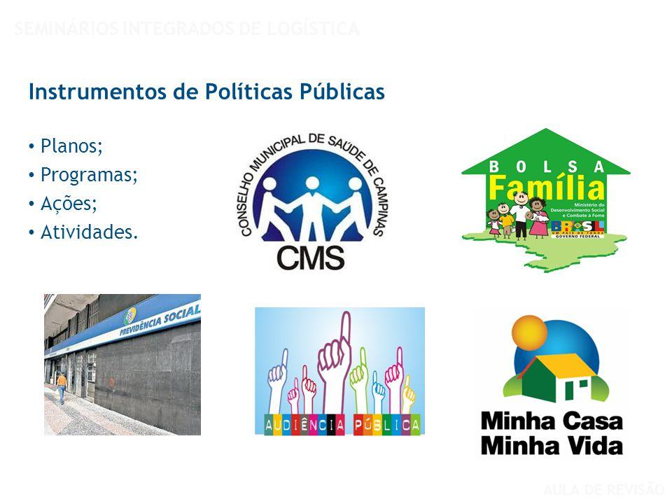 Planos; Programas; Ações; Atividades. Instrumentos de Políticas Públicas SEMINÁRIOS INTEGRADOS DE LOGÍSTICA AULA DE REVISÃO