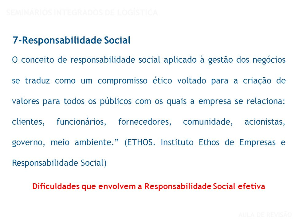 O conceito de responsabilidade social aplicado à gestão dos negócios se traduz como um compromisso ético voltado para a criação de valores para todos