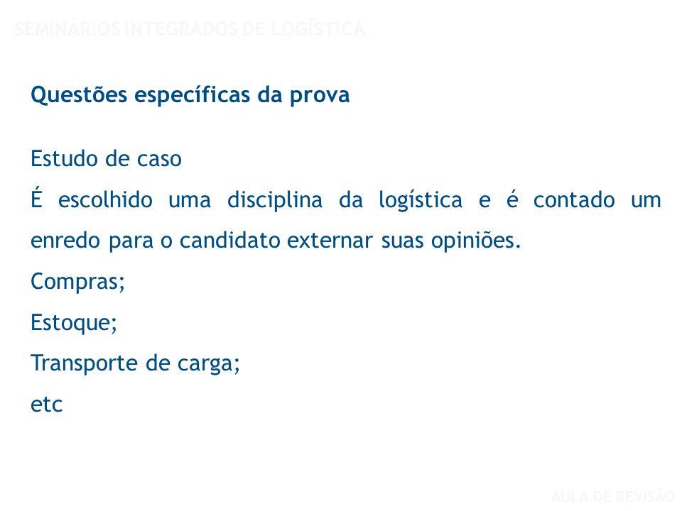 SEMINÁRIOS INTEGRADOS DE LOGÍSTICA Estudo de caso É escolhido uma disciplina da logística e é contado um enredo para o candidato externar suas opiniõe