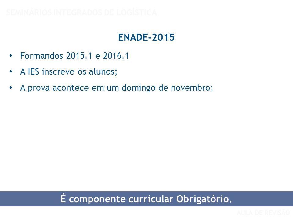 AULA DE REVISÃO SEMINÁRIOS INTEGRADOS DE LOGÍSTICA ENADE-2015 Formandos 2015.1 e 2016.1 A IES inscreve os alunos; A prova acontece em um domingo de no