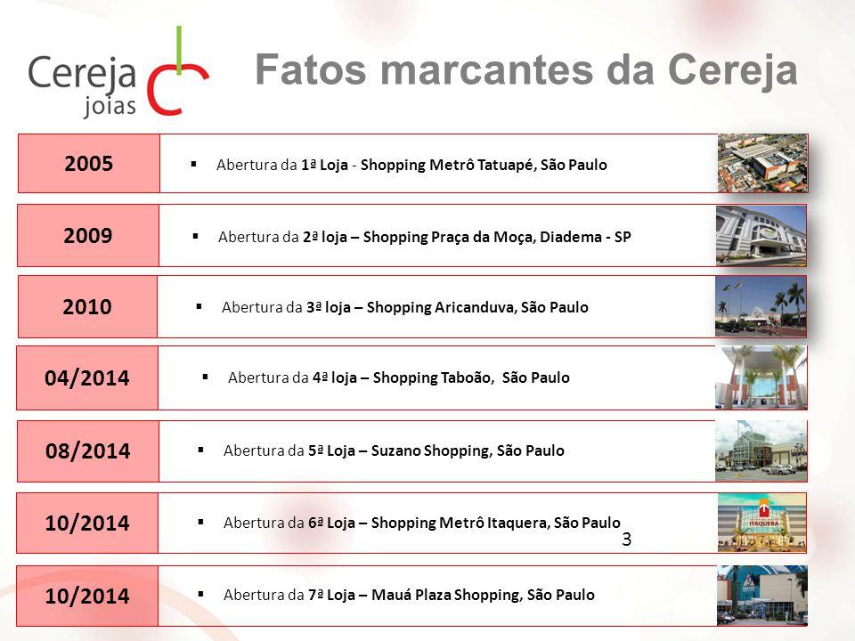 Fatos marcantes da Cereja  Abertura da 1ª Loja - Shopping Metrô Tatuapé, São Paulo 2005 2009  Abertura da 2ª loja – Shopping Praça da Moça, Diadema