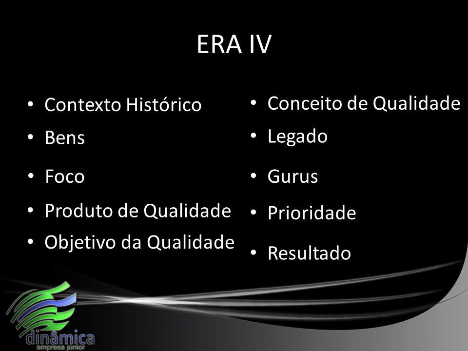 ERA IV Contexto Histórico Bens Produto de Qualidade Foco Objetivo da Qualidade Conceito de Qualidade Legado Gurus Prioridade Resultado