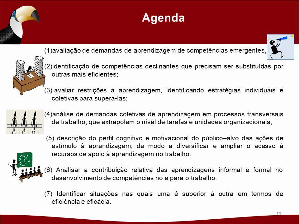 Agenda (1)avaliação de demandas de aprendizagem de competências emergentes, (2)identificação de competências declinantes que precisam ser substituídas