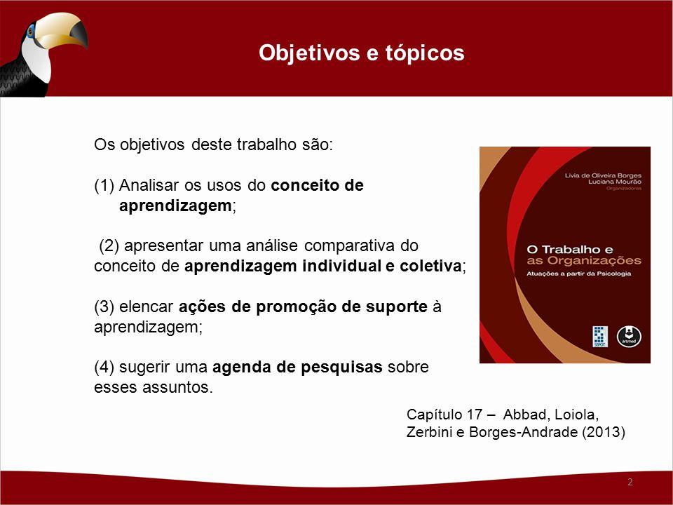 Os objetivos deste trabalho são: (1)Analisar os usos do conceito de aprendizagem; (2) apresentar uma análise comparativa do conceito de aprendizagem individual e coletiva; (3) elencar ações de promoção de suporte à aprendizagem; (4) sugerir uma agenda de pesquisas sobre esses assuntos.