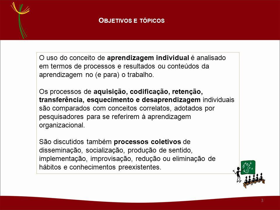 O uso do conceito de aprendizagem individual é analisado em termos de processos e resultados ou conteúdos da aprendizagem no (e para) o trabalho.