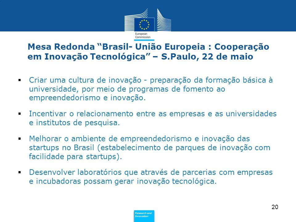 """Policy Research and Innovation Research and Innovation Mesa Redonda """"Brasil- União Europeia : Cooperação em Inovação Tecnológica"""" – S.Paulo, 22 de mai"""