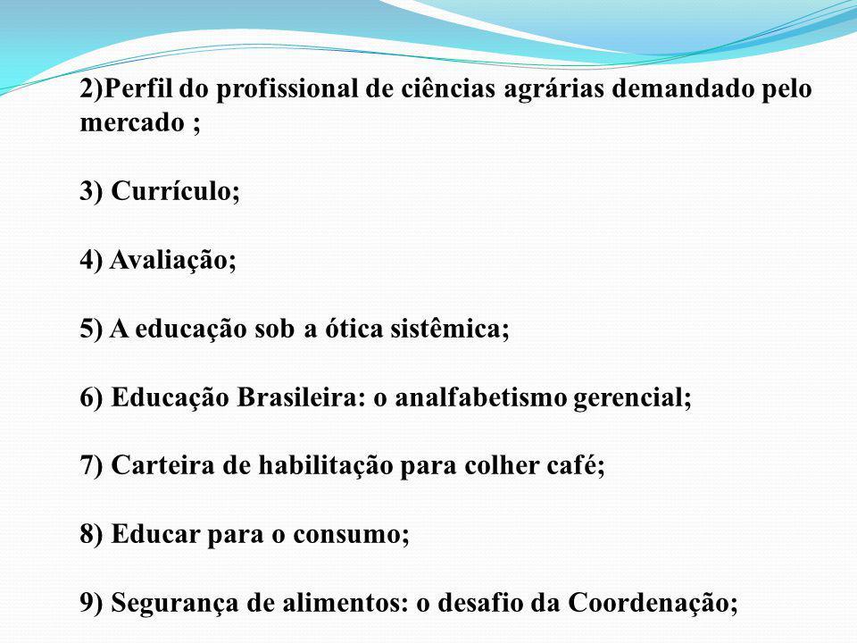 2)Perfil do profissional de ciências agrárias demandado pelo mercado ; 3) Currículo; 4) Avaliação; 5) A educação sob a ótica sistêmica; 6) Educação Br
