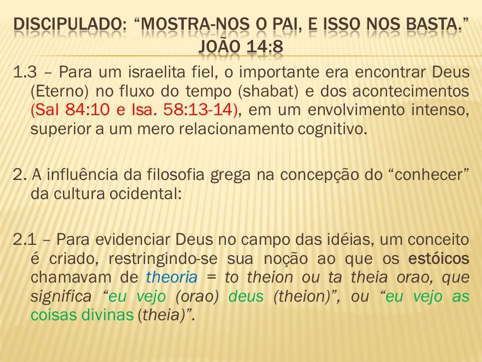 1.3 – Para um israelita fiel, o importante era encontrar Deus (Eterno) no fluxo do tempo (shabat) e dos acontecimentos (Sal 84:10 e Isa. 58:13-14), em