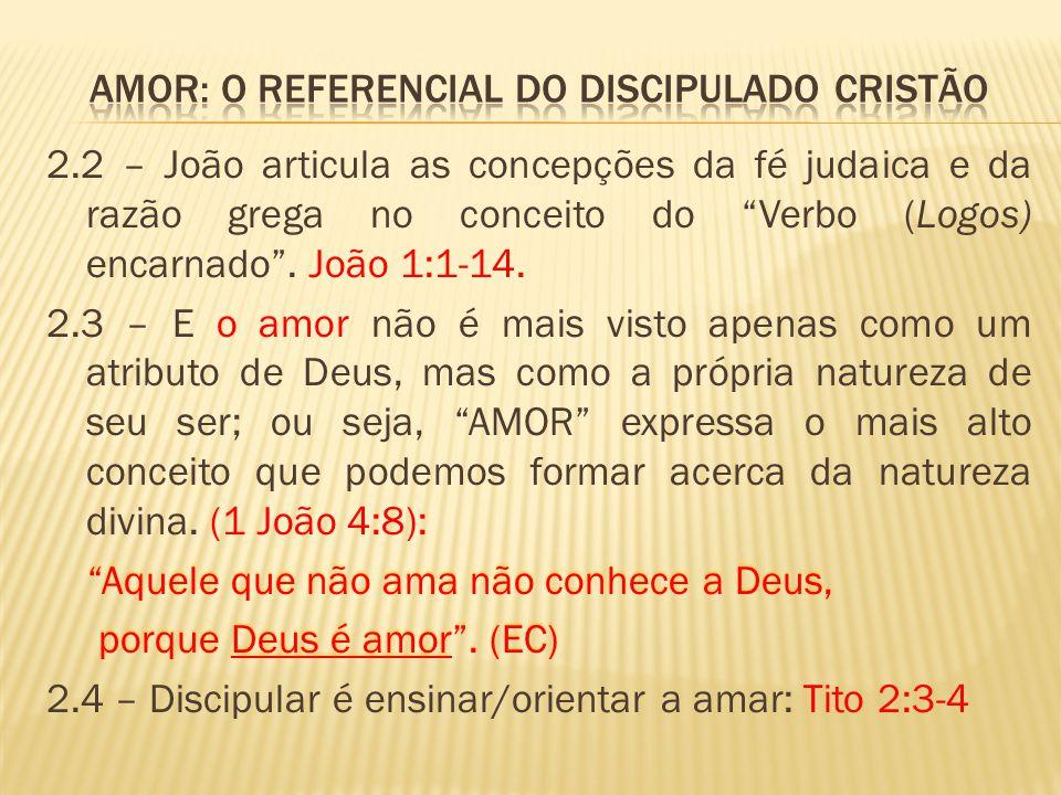 """2.2 – João articula as concepções da fé judaica e da razão grega no conceito do """"Verbo (Logos) encarnado"""". João 1:1-14. 2.3 – E o amor não é mais vist"""