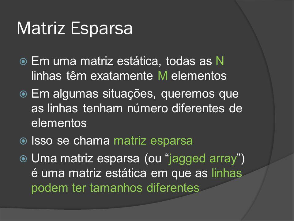 Matriz Esparsa  Em uma matriz estática, todas as N linhas têm exatamente M elementos  Em algumas situações, queremos que as linhas tenham número diferentes de elementos  Isso se chama matriz esparsa  Uma matriz esparsa (ou jagged array ) é uma matriz estática em que as linhas podem ter tamanhos diferentes