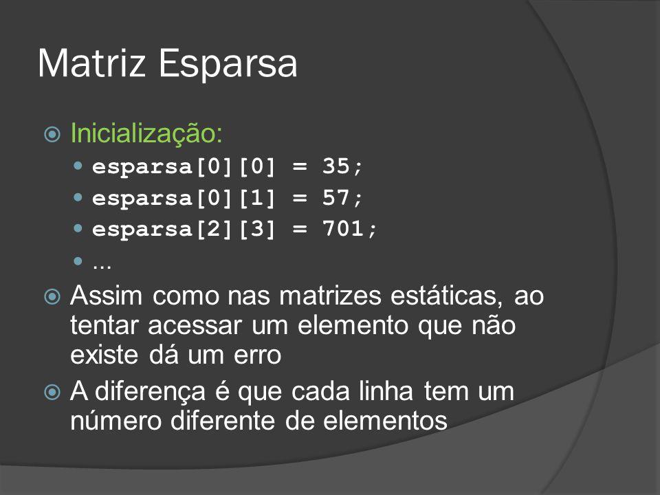 Matriz Esparsa  Inicialização: esparsa[0][0] = 35; esparsa[0][1] = 57; esparsa[2][3] = 701;...