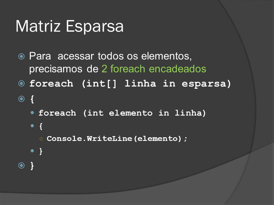 Matriz Esparsa  Para acessar todos os elementos, precisamos de 2 foreach encadeados  foreach (int[] linha in esparsa)  { foreach (int elemento in linha) { ○ Console.WriteLine(elemento); }  }