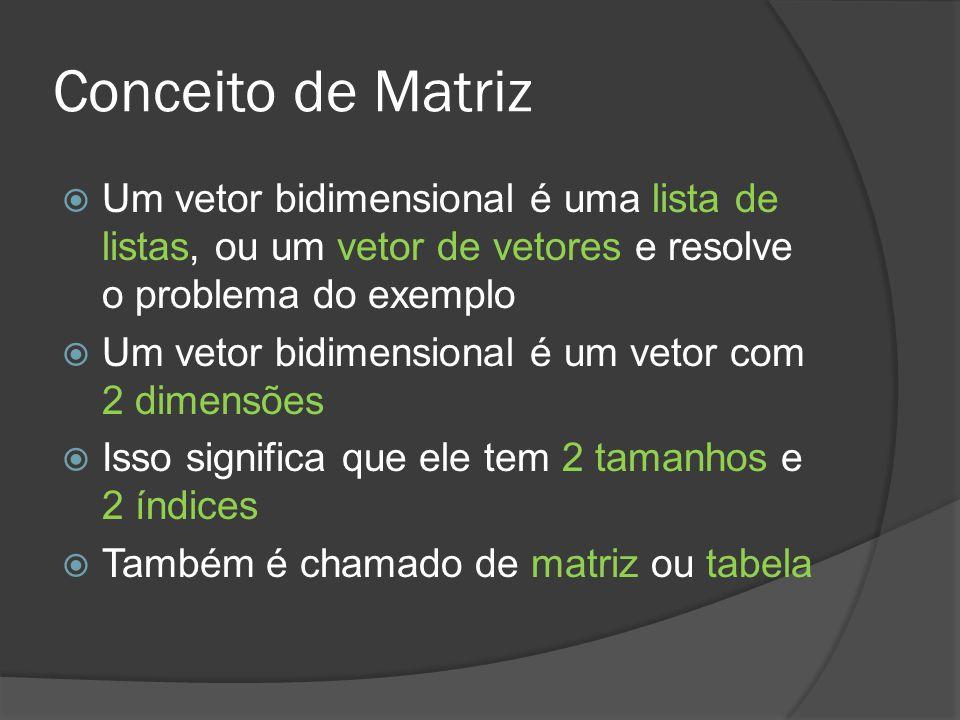 Conceito de Matriz  Um vetor bidimensional é uma lista de listas, ou um vetor de vetores e resolve o problema do exemplo  Um vetor bidimensional é um vetor com 2 dimensões  Isso significa que ele tem 2 tamanhos e 2 índices  Também é chamado de matriz ou tabela