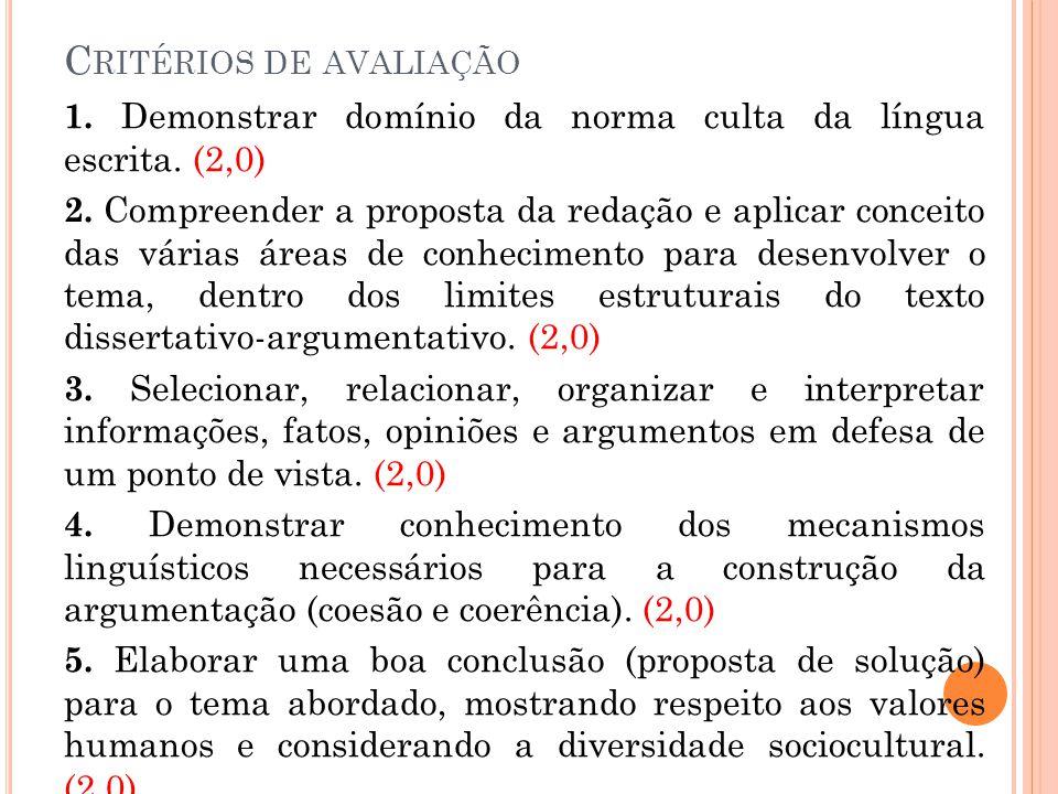 C RITÉRIOS DE AVALIAÇÃO 1. Demonstrar domínio da norma culta da língua escrita. (2,0) 2. Compreender a proposta da redação e aplicar conceito das vári
