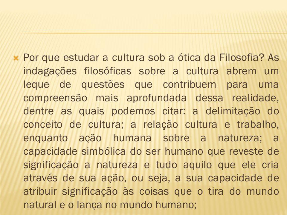  Por que estudar a cultura sob a ótica da Filosofia? As indagações filosóficas sobre a cultura abrem um leque de questões que contribuem para uma com