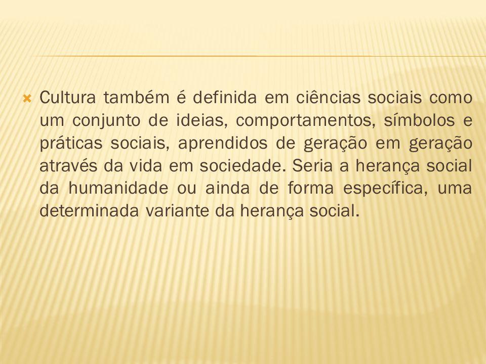  Cultura também é definida em ciências sociais como um conjunto de ideias, comportamentos, símbolos e práticas sociais, aprendidos de geração em gera