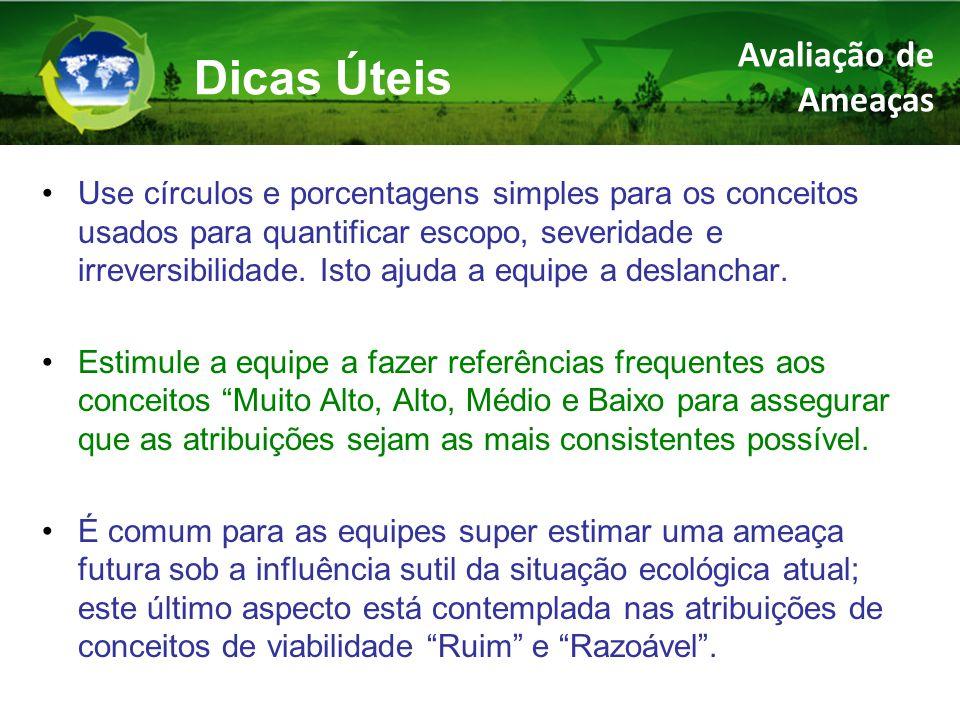 Use círculos e porcentagens simples para os conceitos usados para quantificar escopo, severidade e irreversibilidade.