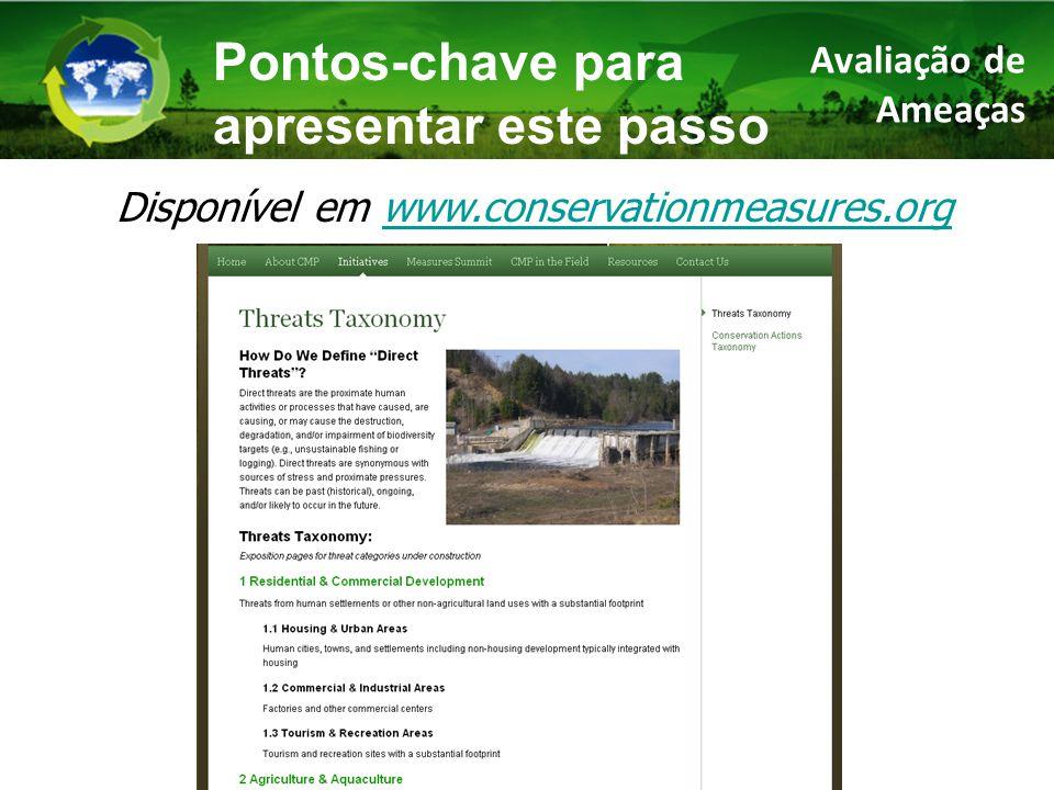 Avaliação de Ameaças Pontos-chave para apresentar este passo Disponível em www.conservationmeasures.orgwww.conservationmeasures.org