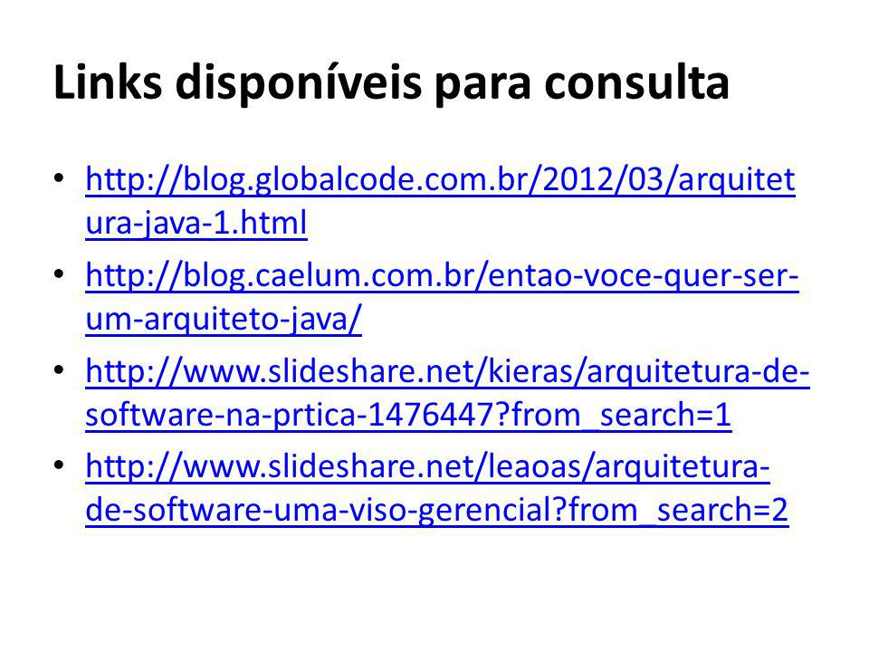 Links disponíveis para consulta http://blog.globalcode.com.br/2012/03/arquitet ura-java-1.html http://blog.globalcode.com.br/2012/03/arquitet ura-java