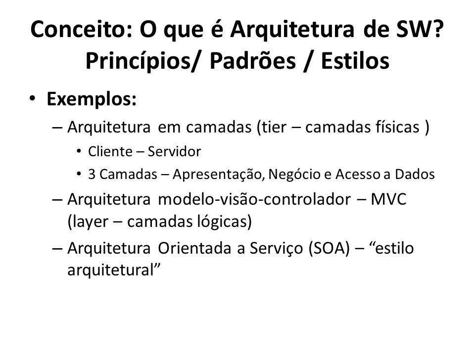 Exemplos: – Arquitetura em camadas (tier – camadas físicas ) Cliente – Servidor 3 Camadas – Apresentação, Negócio e Acesso a Dados – Arquitetura model