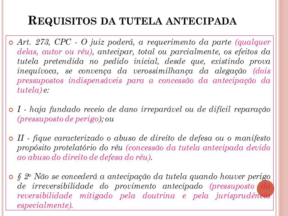 R EQUISITOS DA TUTELA ANTECIPADA Art. 273, CPC - O juiz poderá, a requerimento da parte (qualquer delas, autor ou réu), antecipar, total ou parcialmen