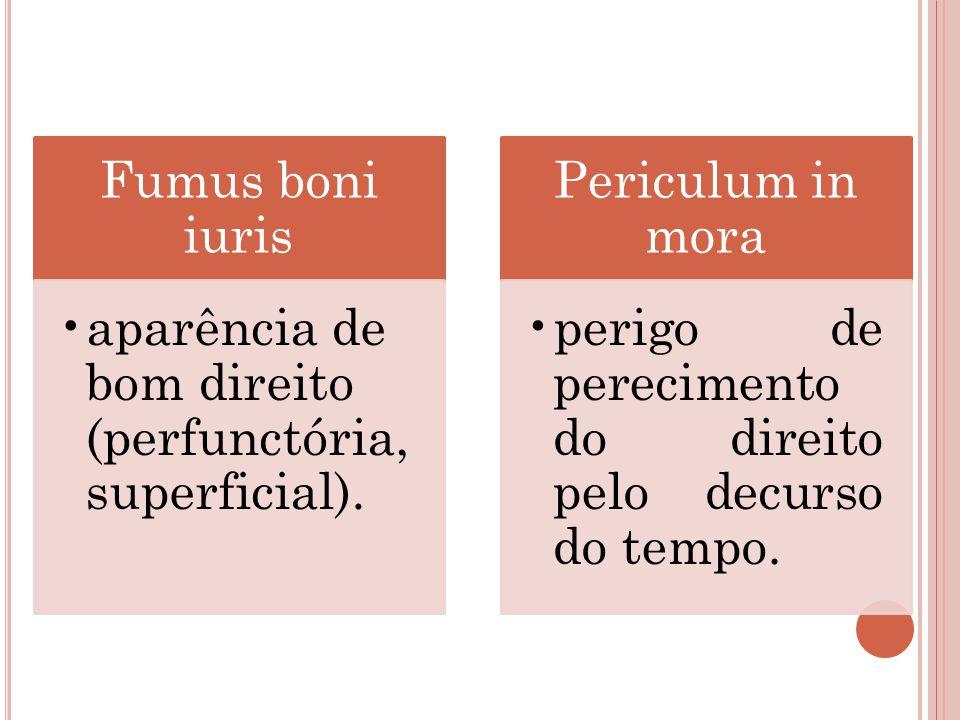 Fumus boni iuris aparência de bom direito (perfunctória, superficial). Periculum in mora perigo de perecimento do direito pelo decurso do tempo.