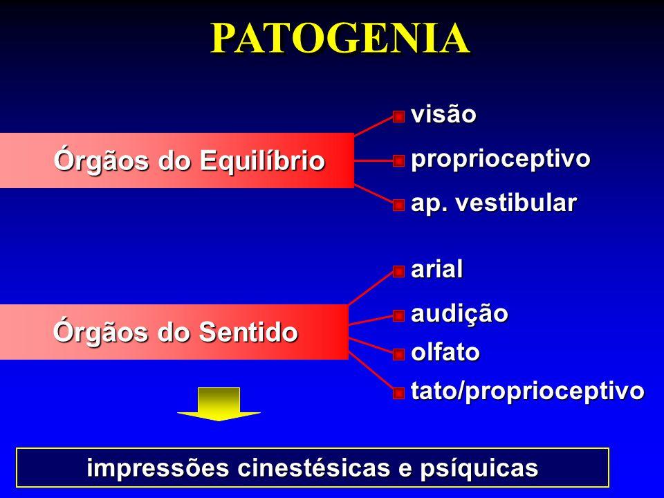 impressões cinestésicas e psíquicas PATOGENIAPATOGENIAvisãoproprioceptivo ap. vestibular arialaudição olfato tato/proprioceptivo Órgãos do Equilíbrio