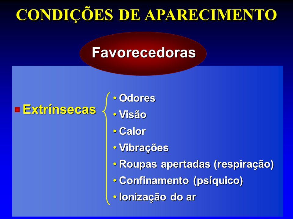 CONDIÇÕES DE APARECIMENTO Favorecedoras OdoresOdores VisãoVisão CalorCalor VibraçõesVibrações Roupas apertadas (respiração)Roupas apertadas (respiraçã