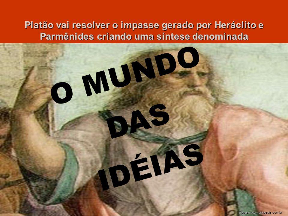 Platão vai resolver o impasse gerado por Heráclito e Parmênides criando uma síntese denominada O M U N D O D A S I D É I A S Figura: www.wikipedia.com