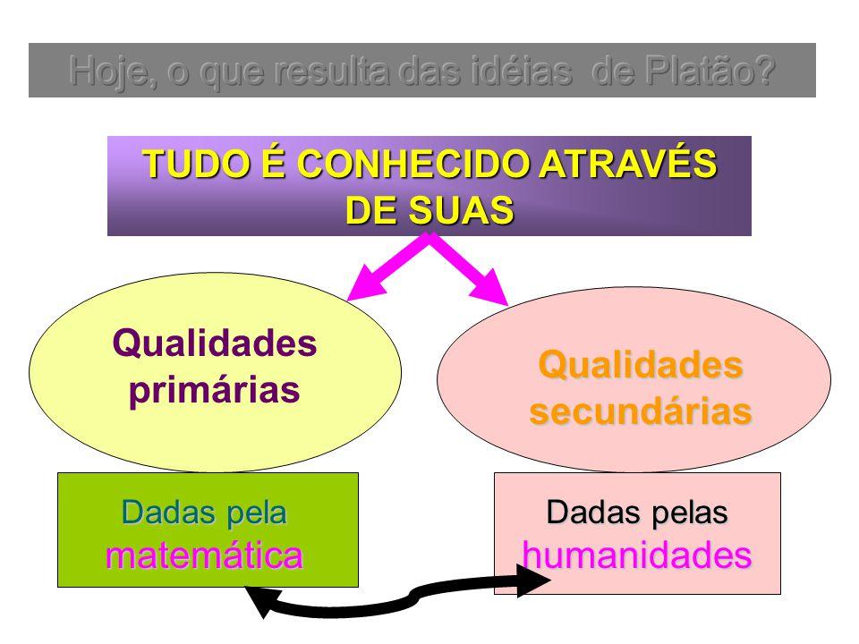 Qualidades primárias Dadas pela matemática Qualidades secundárias Dadas pelas humanidades TUDO É CONHECIDO ATRAVÉS DE SUAS