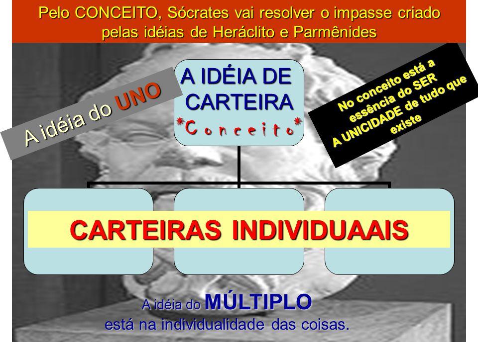 A IDÉIA DE CARTEIRA *C o n c e i t o* CARTEIRAS INDIVIDUAAIS No conceito está a essência do SER A UNICIDADE de tudo que existe A idéia do UNO A idéia