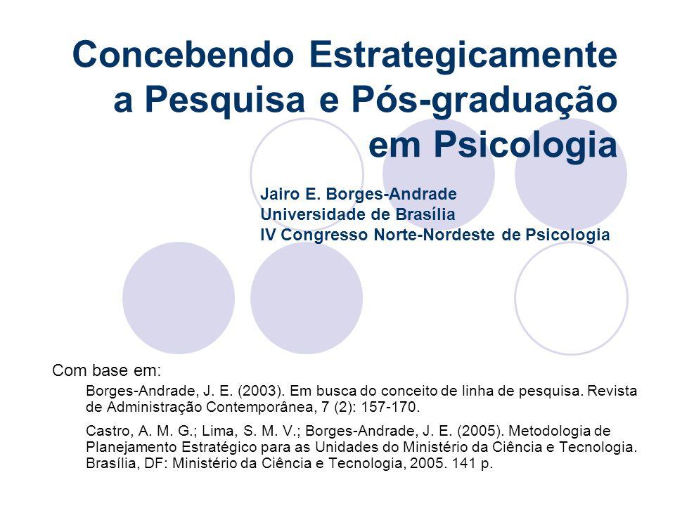 Concebendo Estrategicamente a Pesquisa e Pós-graduação em Psicologia Com base em: Borges-Andrade, J. E. (2003). Em busca do conceito de linha de pesqu
