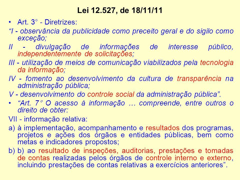"""Lei 12.527, de 18/11/11 Art. 3° - Diretrizes: """"I - observância da publicidade como preceito geral e do sigilo como exceção; II - divulgação de informa"""
