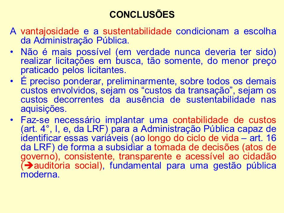 CONCLUSÕES A vantajosidade e a sustentabilidade condicionam a escolha da Administração Pública. Não é mais possível (em verdade nunca deveria ter sido