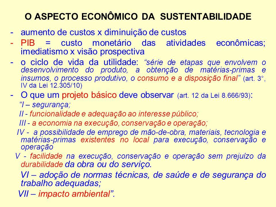 O ASPECTO ECONÔMICO DA SUSTENTABILIDADE -aumento de custos x diminuição de custos -PIB = custo monetário das atividades econômicas; imediatismo x visã