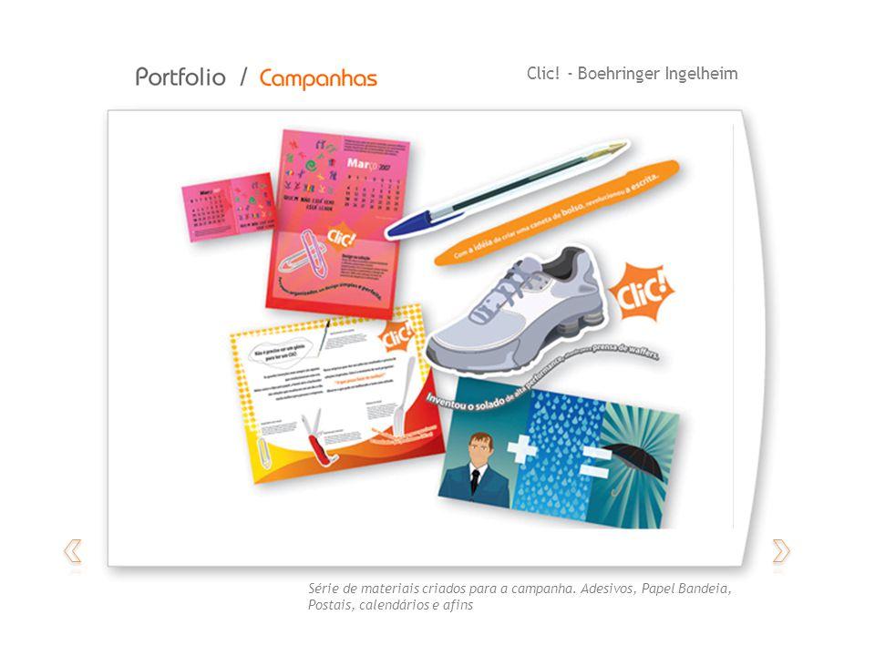 Clic! - Boehringer Ingelheim Série de materiais criados para a campanha. Adesivos, Papel Bandeia, Postais, calendários e afins