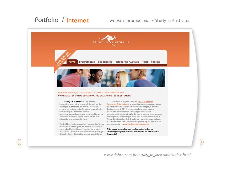 website promocional – Study in Australia www.dobra.com.br/study_in_australia/index.html