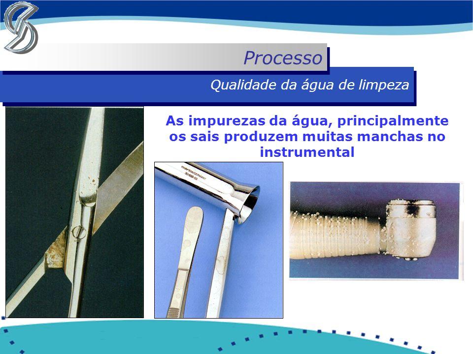 Qualidade da água de limpeza Processo As impurezas da água, principalmente os sais produzem muitas manchas no instrumental