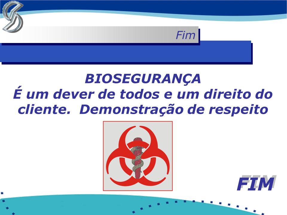 Fim BIOSEGURANÇA É um dever de todos e um direito do cliente. Demonstração de respeito FIM