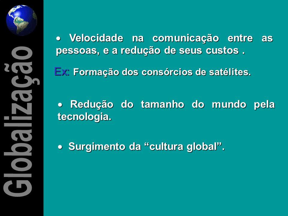  Aumento e modernização dos sistemas de telecomunicações no mundo. Ex: Em 1960 o nº de ligações telefônicas entre os EUA e a Europa foram de 2 milhõe