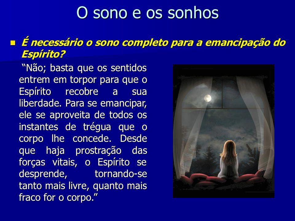 O sono é a porta que Deus lhes abriu, para que possam ir ter com seus amigos do céu; é o recreio depois do trabalho, enquanto esperam a grande libertação, a libertação final, que os restituirá ao meio que lhes é próprio.