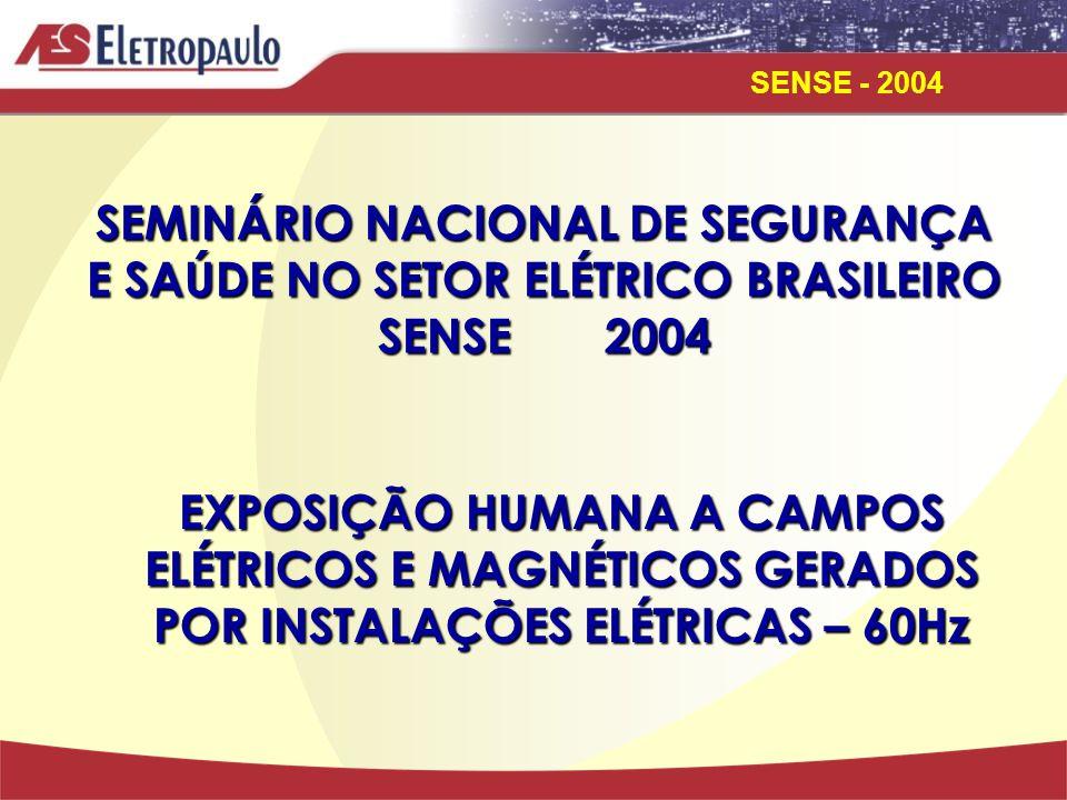 SENSE - 2004 SEMINÁRIO NACIONAL DE SEGURANÇA E SAÚDE NO SETOR ELÉTRICO BRASILEIRO SENSE 2004 EXPOSIÇÃO HUMANA A CAMPOS ELÉTRICOS E MAGNÉTICOS GERADOS POR INSTALAÇÕES ELÉTRICAS – 60Hz