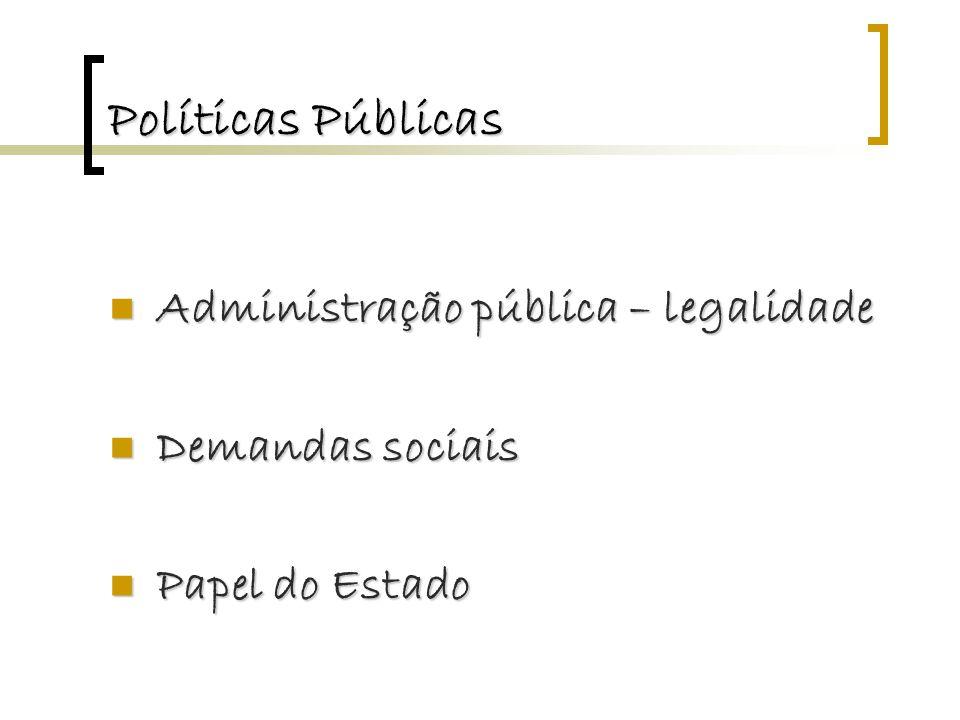 Políticas Públicas Administração pública – legalidade Administração pública – legalidade Demandas sociais Demandas sociais Papel do Estado Papel do Estado