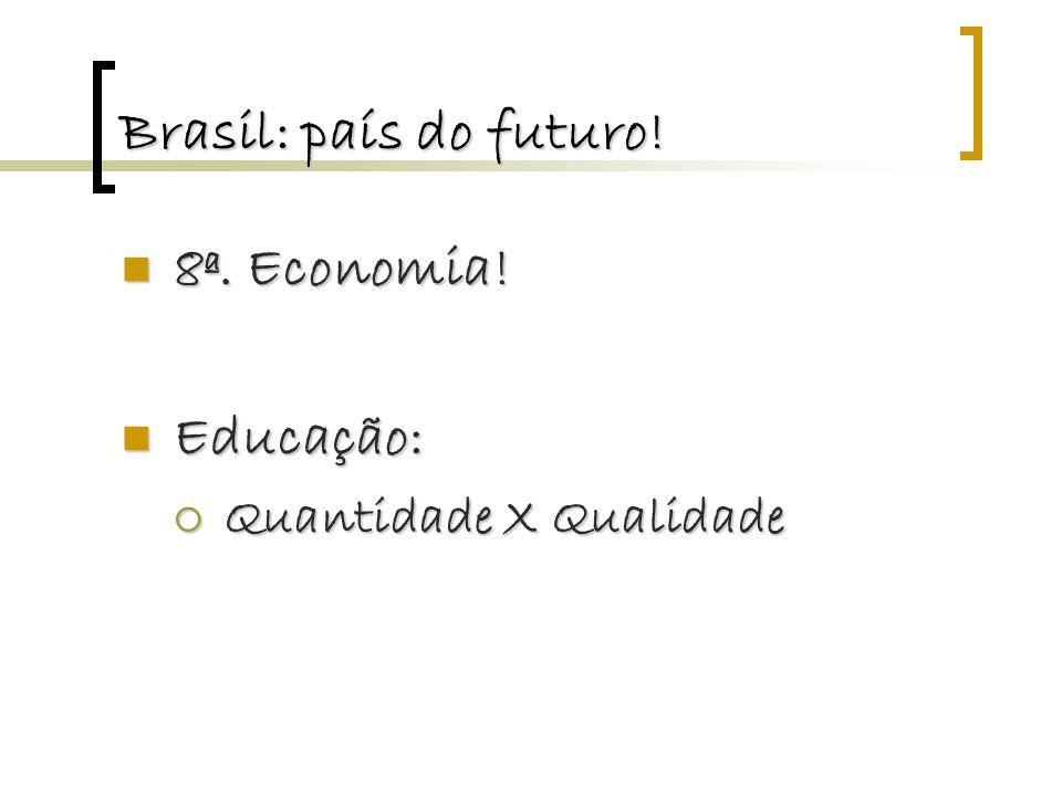 Brasil: país do futuro! 8ª. Economia! 8ª. Economia! Educação: Educação:  Quantidade X Qualidade