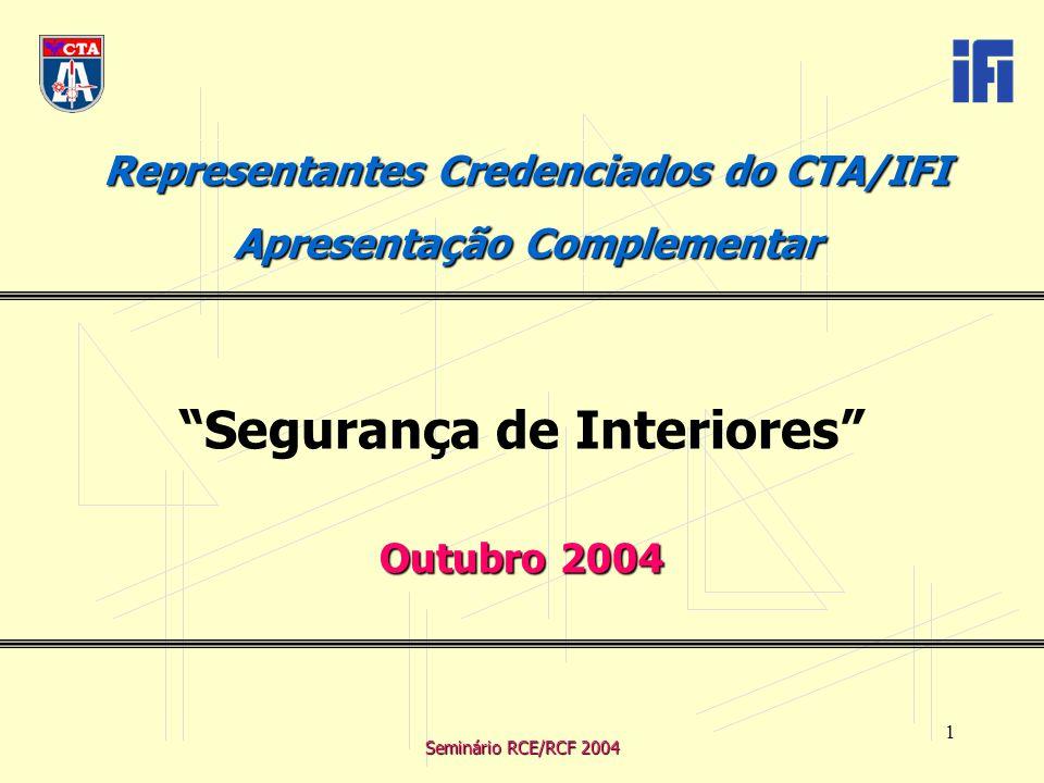 Seminário RCE/RCF 2004 1 Representantes Credenciados do CTA/IFI Apresentação Complementar Segurança de Interiores Outubro 2004