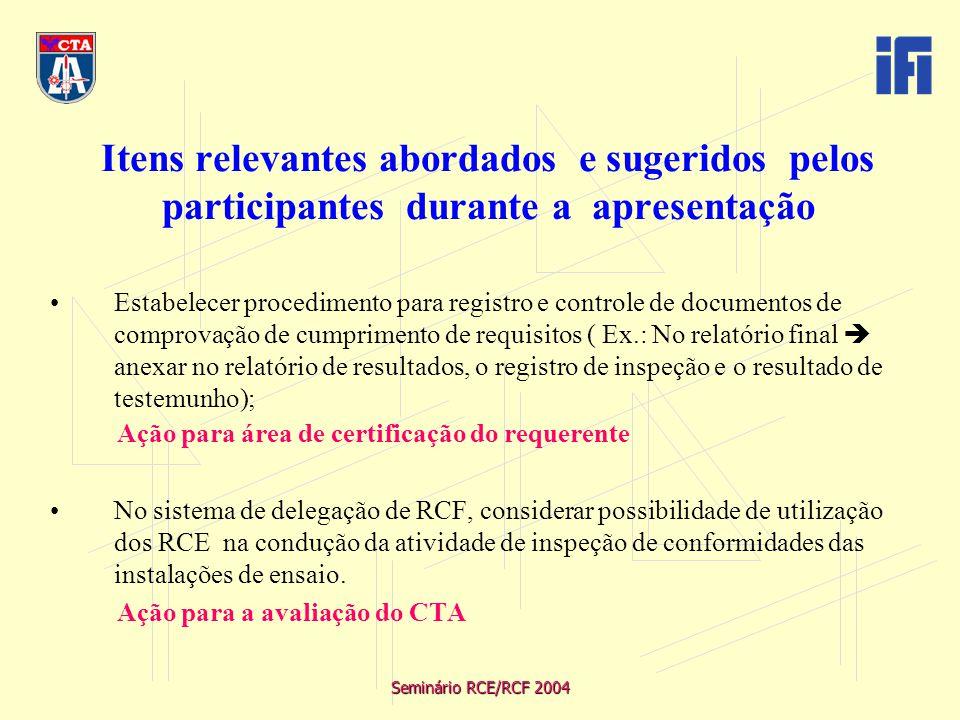 Seminário RCE/RCF 2004 Itens relevantes abordados e sugeridos pelos participantes durante a apresentação Estabelecer procedimento para registro e controle de documentos de comprovação de cumprimento de requisitos ( Ex.: No relatório final  anexar no relatório de resultados, o registro de inspeção e o resultado de testemunho); Ação para área de certificação do requerente No sistema de delegação de RCF, considerar possibilidade de utilização dos RCE na condução da atividade de inspeção de conformidades das instalações de ensaio.