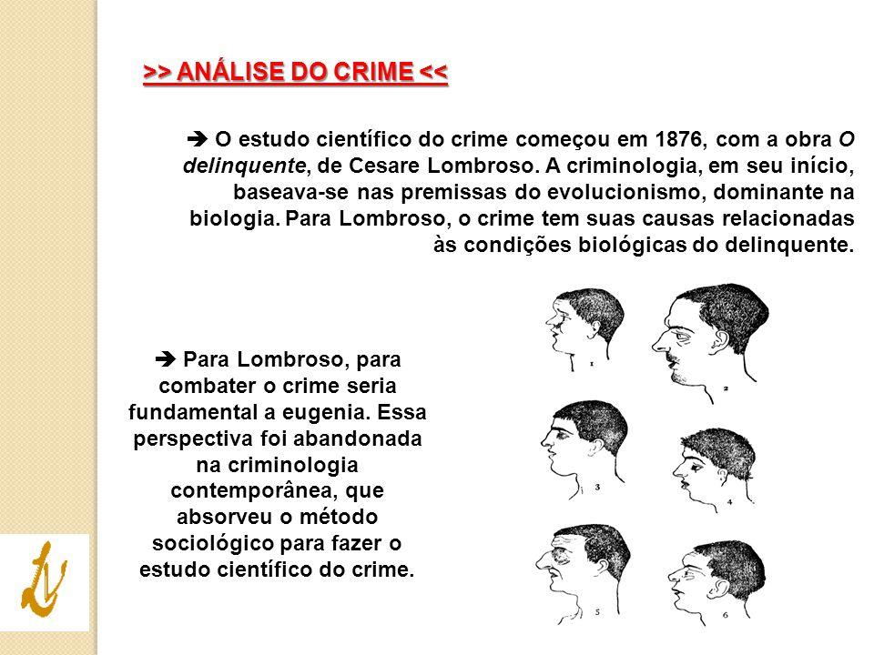>> ANÁLISE DO CRIME > ANÁLISE DO CRIME <<  O estudo científico do crime começou em 1876, com a obra O delinquente, de Cesare Lombroso. A criminologia