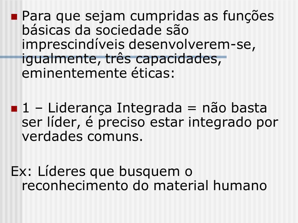 Para que sejam cumpridas as funções básicas da sociedade são imprescindíveis desenvolverem-se, igualmente, três capacidades, eminentemente éticas: 1 –