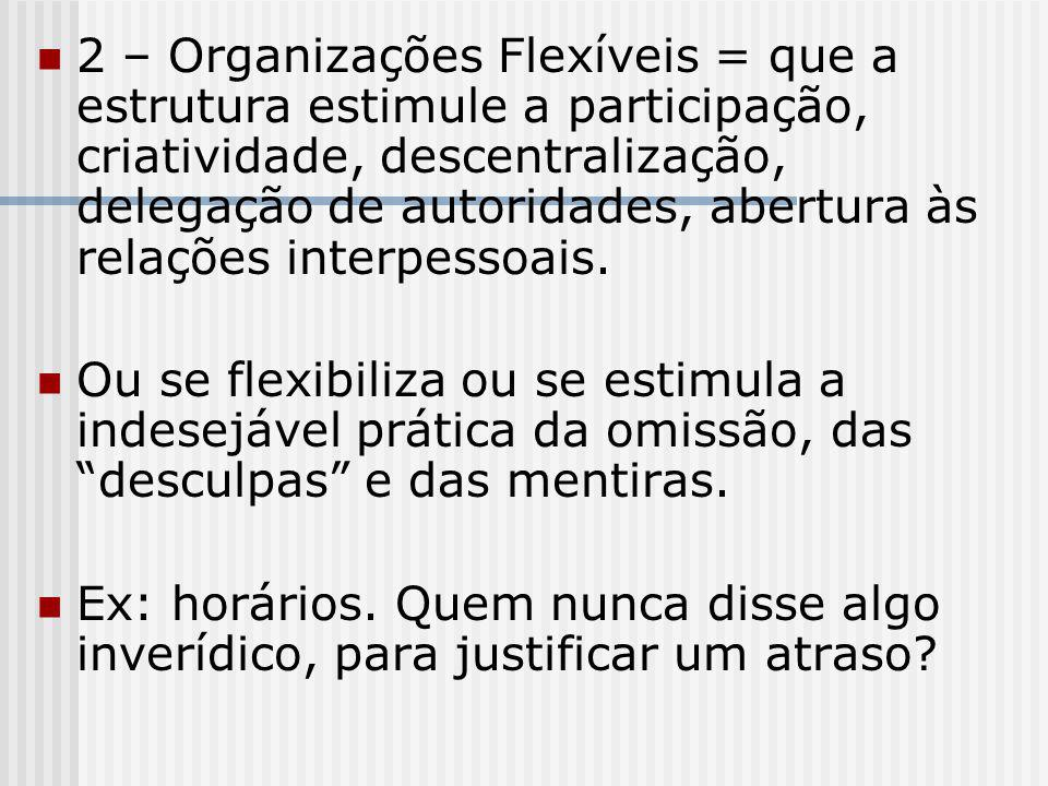 2 – Organizações Flexíveis = que a estrutura estimule a participação, criatividade, descentralização, delegação de autoridades, abertura às relações i
